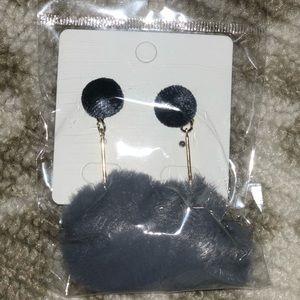 Gray Pom Pom Earrings